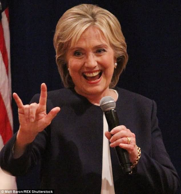 Hillary Clinton With Satanic Hand Sign Funny Photo