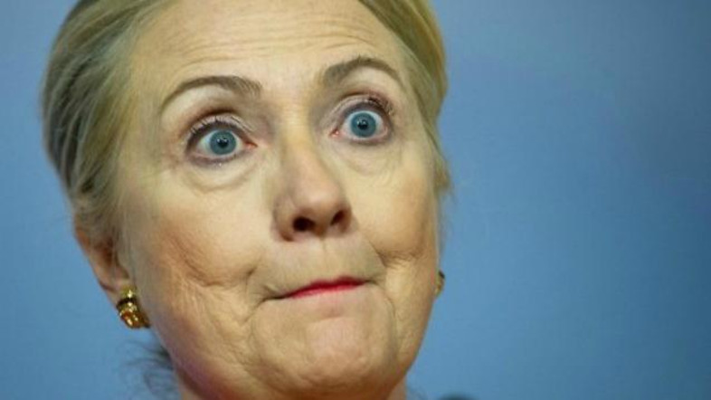 Hillary Clinton With Surprised Face Funny Picture