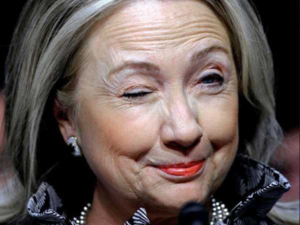 Hillary Clinton With Twinkling Eyes Funny Image