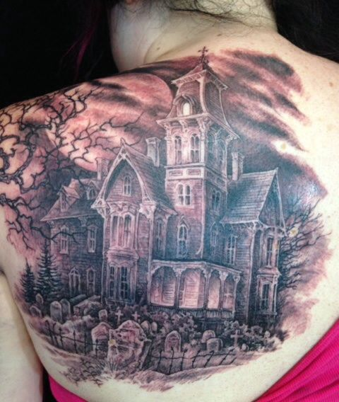45 best haunted house tattoos for Cemetery tattoo pics