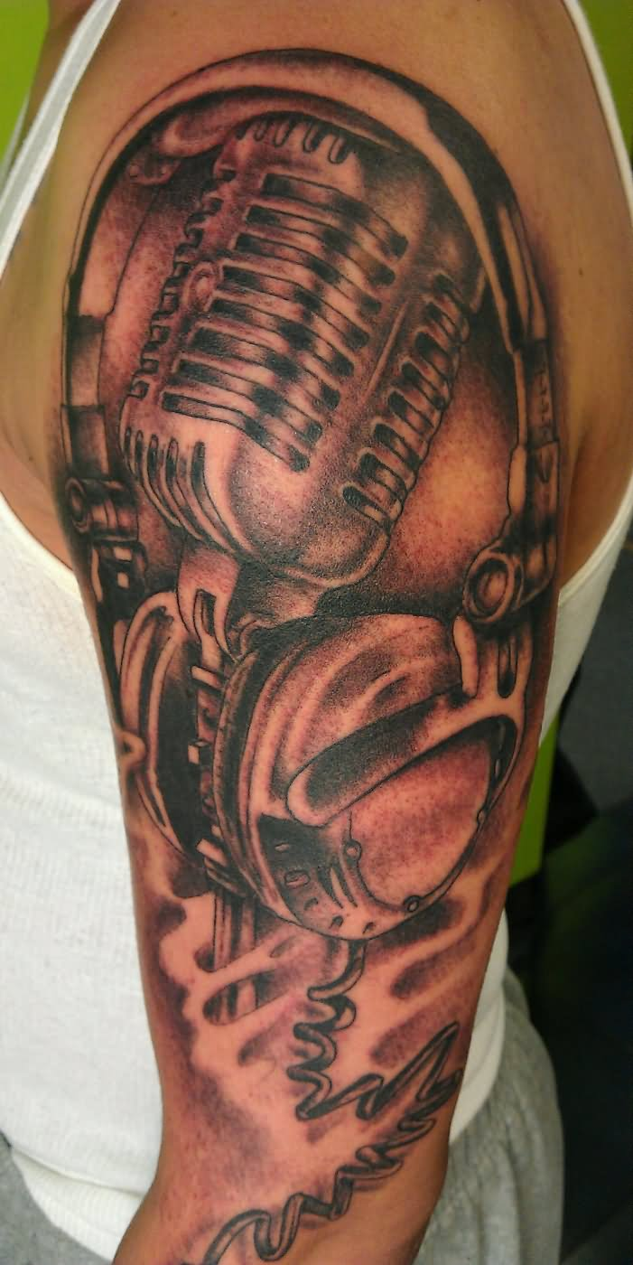 headphone tattoo designs the image kid has it. Black Bedroom Furniture Sets. Home Design Ideas