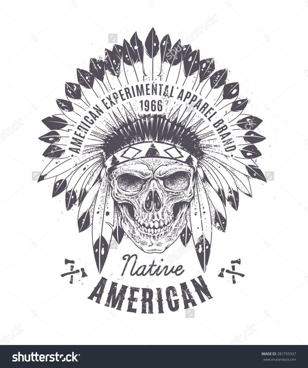 c8648a5ce Memorial Indian Chief Skull Head Tattoo Design