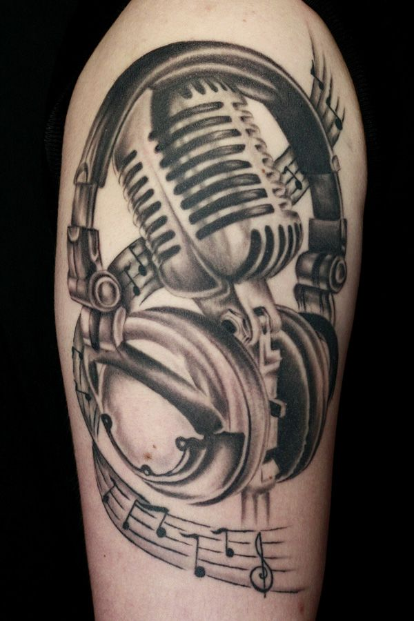 27 microphone and headphone tattoos. Black Bedroom Furniture Sets. Home Design Ideas