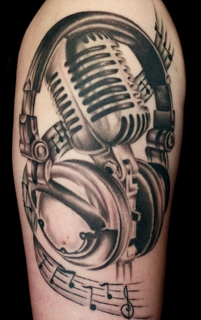 28 microphone tattoos on sleeve for Music notes tattoo sleeve