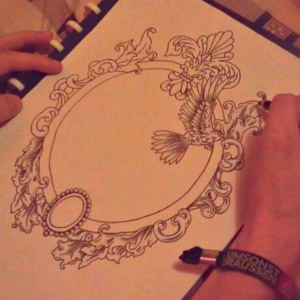 ornate hand mirror tattoo. Black Bedroom Furniture Sets. Home Design Ideas