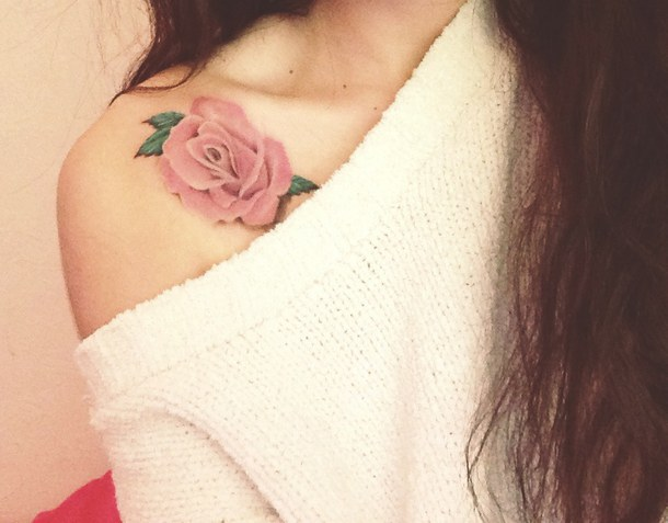 24 collar bone rose tattoos for Pink ink tattoo