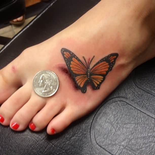 realistic butterfly tattoo on girl left foot. Black Bedroom Furniture Sets. Home Design Ideas