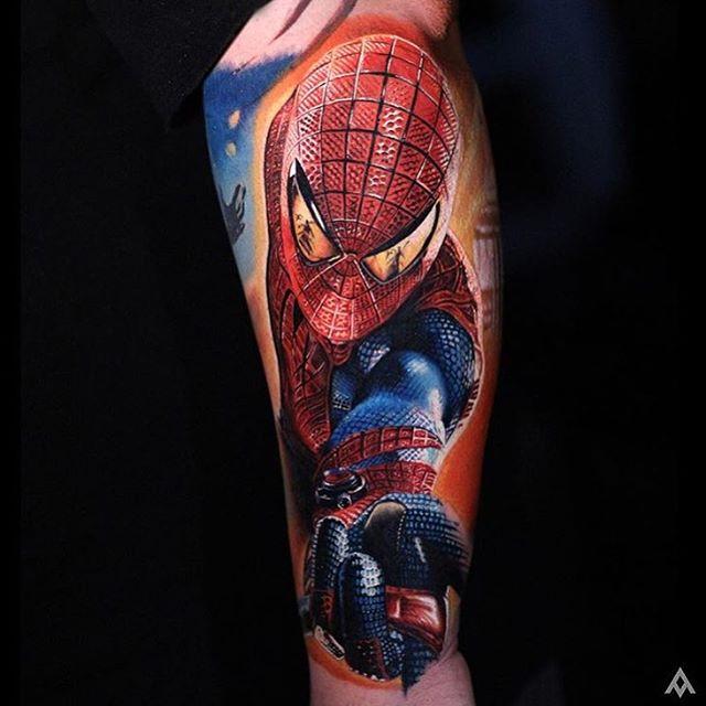 15 spiderman tattoos on leg for Spiderman tattoo arm
