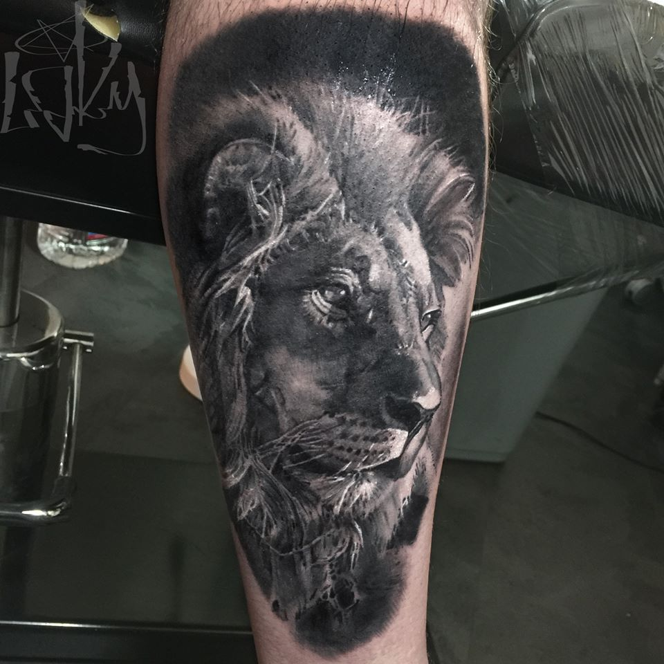 grey ink slipknot on left forearm by maksims zotovs