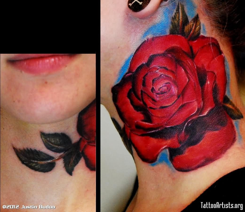Side Neck Tattoo: 51+ Best Rose Neck Tattoos