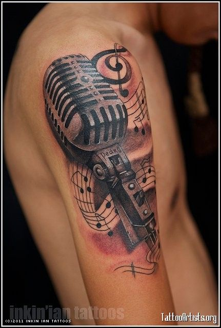22 microphone and music notes tattoo. Black Bedroom Furniture Sets. Home Design Ideas