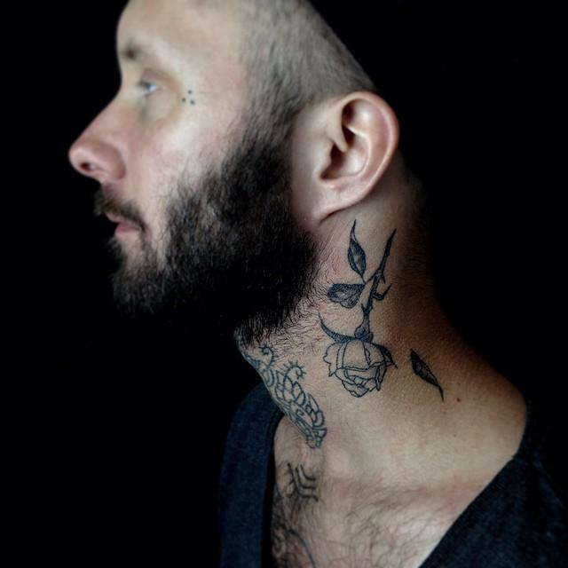 51 best rose neck tattoos. Black Bedroom Furniture Sets. Home Design Ideas
