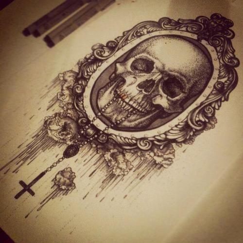 oval filigree frame tattoo. Skull Victorian Hand Mirror Tattoo Design Oval Filigree Frame K