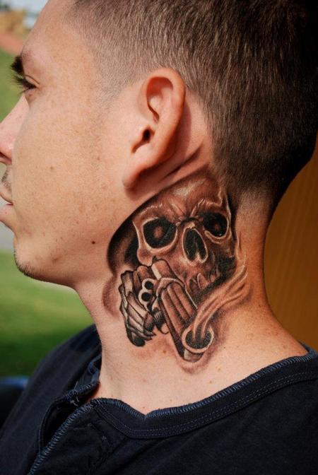 grey ink skull tattoo on side neck. Black Bedroom Furniture Sets. Home Design Ideas