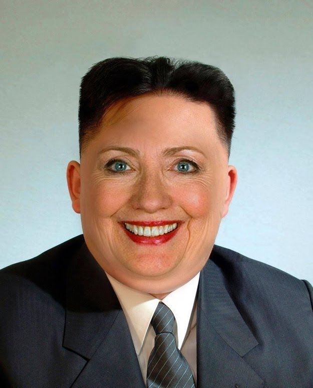 Smiling Hillary Clinton Merged With Kim Jong Un Funny Face Image