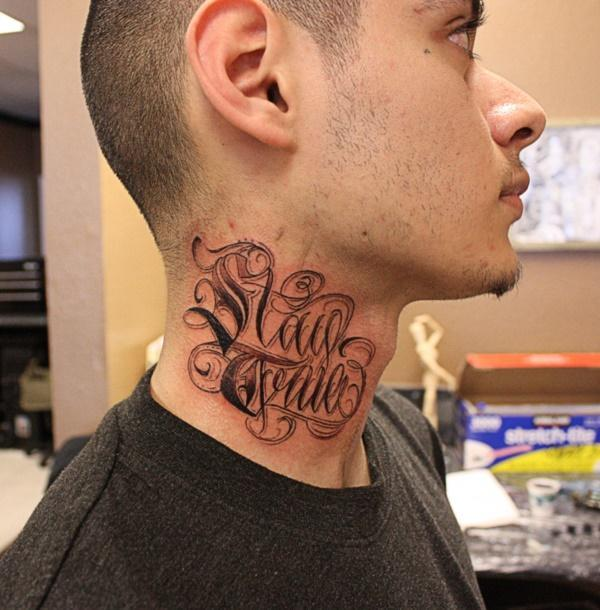 45 Words Neck Tattoos