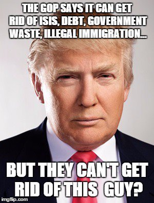 The Gop Says It Can Get Rid Of Isis Debt Government Waste Illegal Immigration Funny Donald Trump Meme Image
