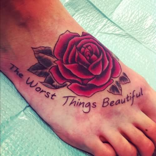 39+ Awesome Rose Foot Tattoos