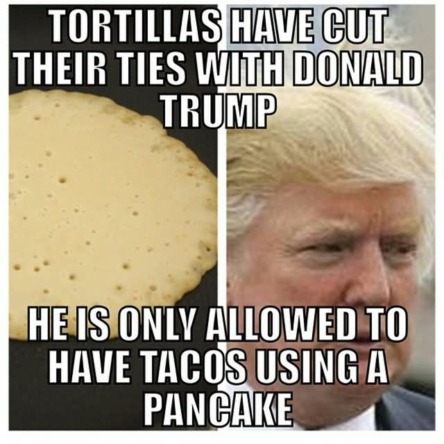 Tortillas Have Cut Their Ties With Donald Trump He Is Only Allowed To Have Tacos Using A Pancake Funny Meme Image 50 funniest donald trump meme images and photos on the internet