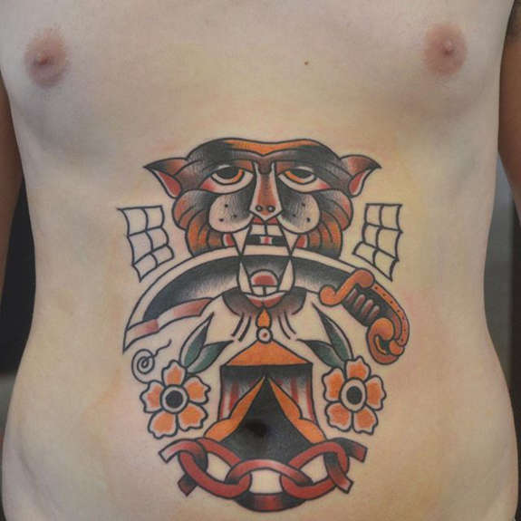 ced6cbf01f8fd Traditional Dagger In Tiger Mouth With Flowers Tattoo On Man Stomach