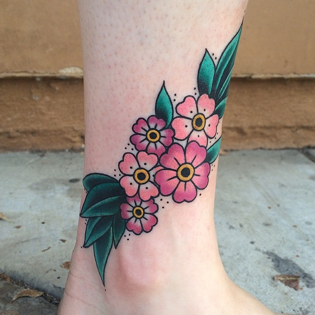 Traditional Flower Tattoos: 32+ New Inner Ankle Tattoos