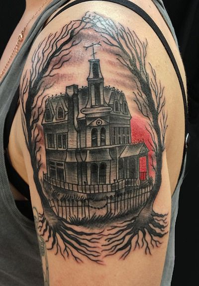 25+ Traditional Haunted House Tattoo