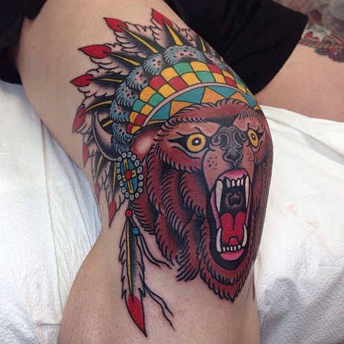 79eab953b Traditional Indian Bear Tattoo On Knee By Marc Nava