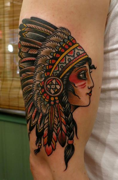 native american girl tattoo on right half sleeve. Black Bedroom Furniture Sets. Home Design Ideas