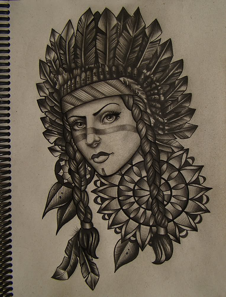 traditional native indian girl with diamond tattoo design for sleeve by luke jinks. Black Bedroom Furniture Sets. Home Design Ideas
