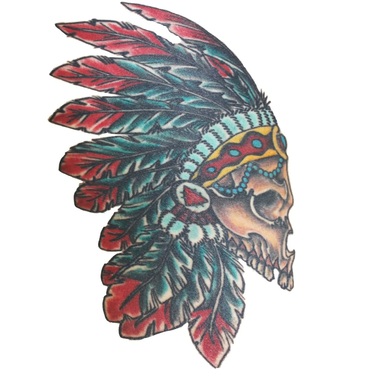 44 Indian Chief Skull Head Tattoos