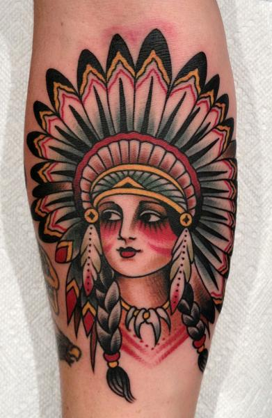 2c3c51fa4 Traditional Native Indian Girl Face Tattoo Design For Forearm By Paul  Anthony Dobleman
