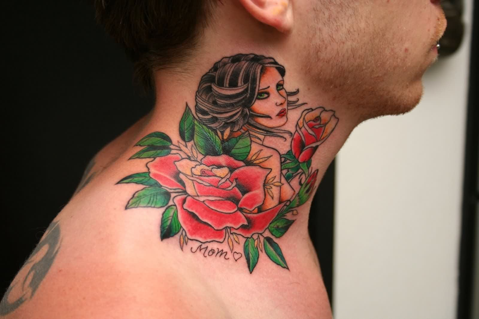51+ Best Rose Neck Tattoos