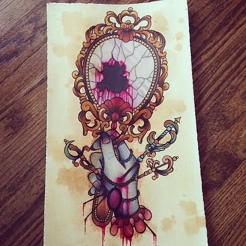 Vampire Hand Mirror Tattoo Design