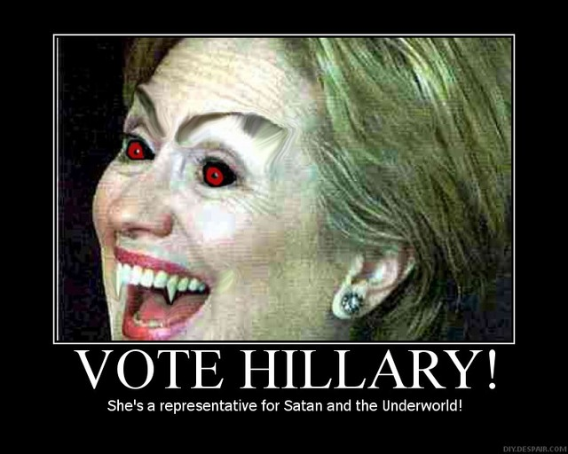 Vote Hillary She's A Representative For Santa And The Underworld Funny Hillary Clinton Picture