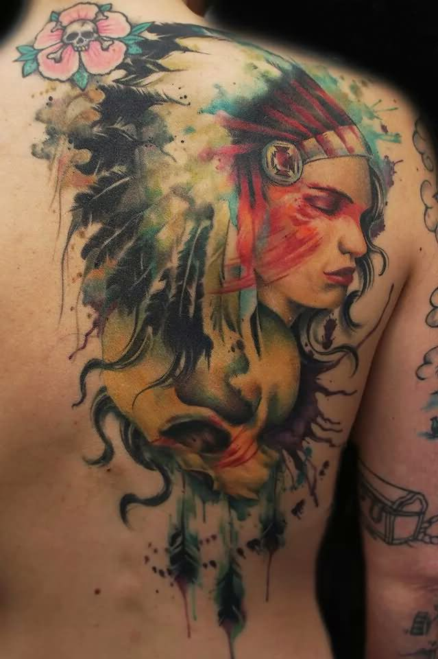 89f0c6bb2 Watercolor Native Indian Girl Face With Skull Tattoo On Right Back Shoulder