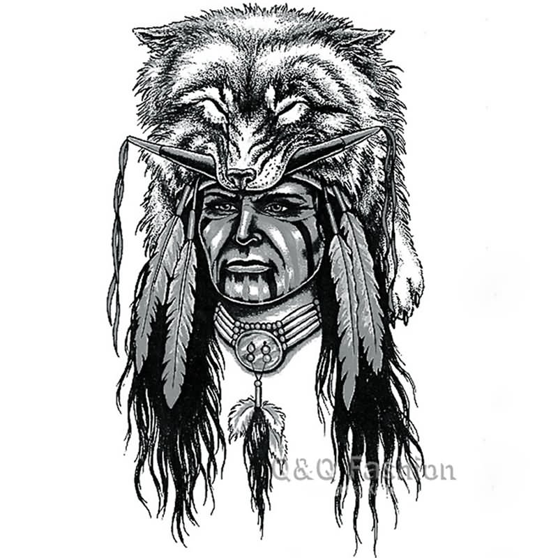 32 indian chief wolf tattoos