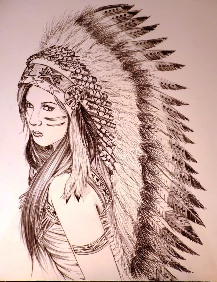 52 female indian chief tattoos for Indian woman tattoo