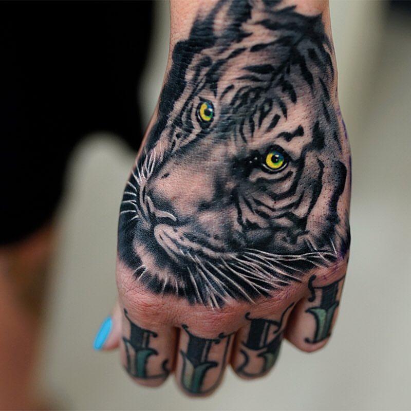 Tiger head tattoo design for leg for Animal hand tattoos