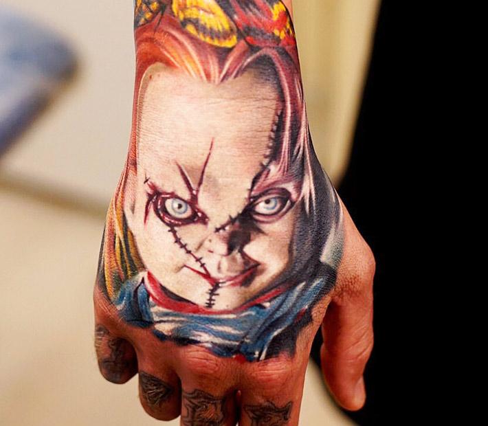 Horror Movie Tattoos Tattoos: Colorful 3D Pug Face Tattoo On Left Hand