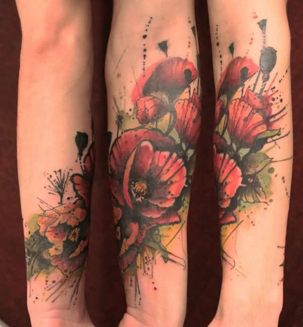 Watercolor Tattoos Abstract Watercolor And: 34+ Watercolor Poppy Tattoos