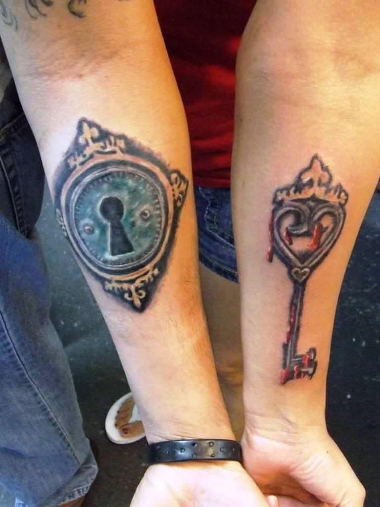 Amazing Lock And Honesty Key Tattoos On Couple Forearm