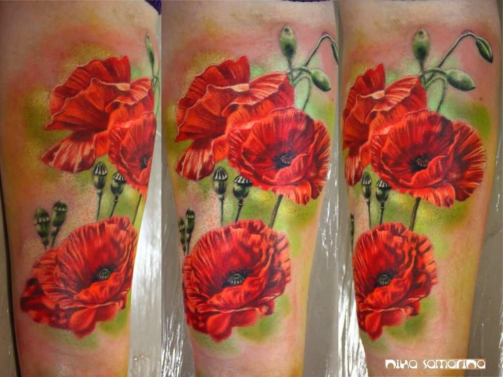 Attractive Poppy Flowers Tattoo Design For Leg By Zanna Schneider