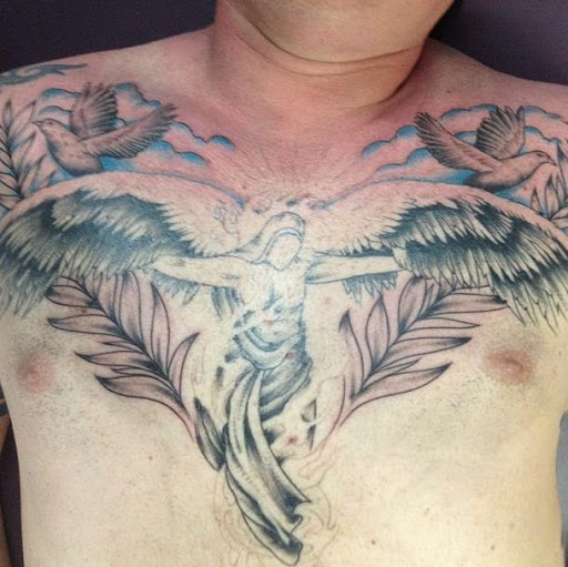 35 cloud tattoos on chest for Angel in clouds tattoo