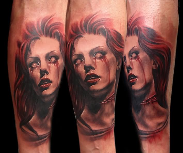 7d59de6e7 Attractive 3D Horror Vampire Girl Face Tattoo Design For Sleeve By Betty