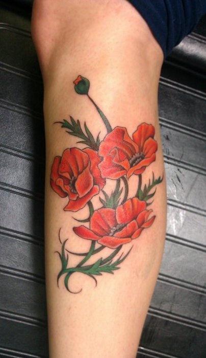 Attractive poppy flowers tattoo design for leg by zanna schneider mightylinksfo
