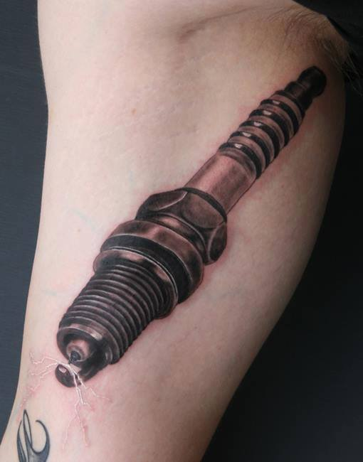 Top piston and spark plug tattoo images for pinterest tattoos for Jay crockett tattoo
