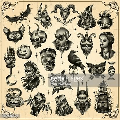 24+ Horror Tattoos Flash Ideas