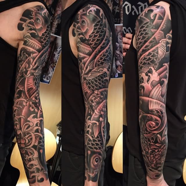 36 black and grey full sleeve tattoos for Japanese full arm tattoo