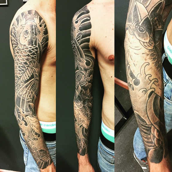 Black And Grey Koi Fish Sleeve Tattoos: 36+ Black And Grey Full Sleeve Tattoos