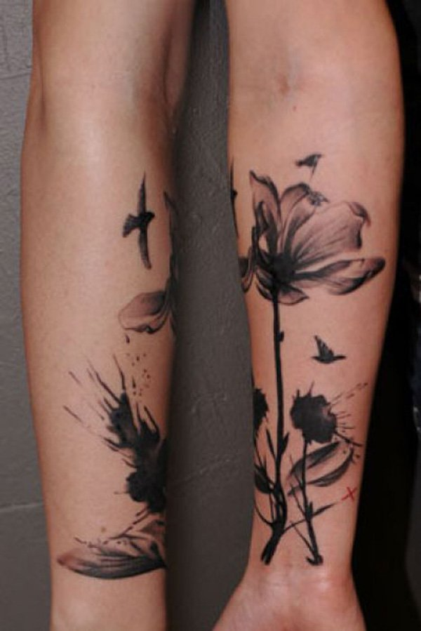 24 black and white poppy tattoos for Flower tattoo arm